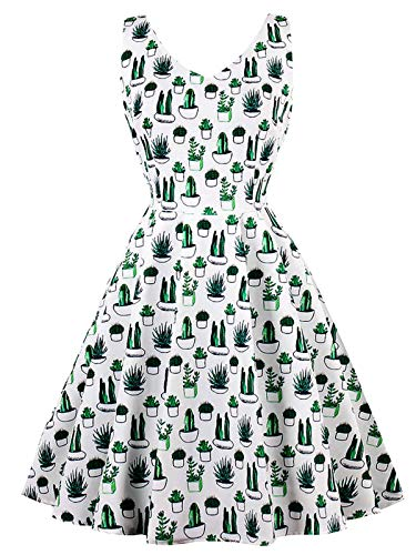 FTVOGUE Frauen Vintage Retro Blumen Pflanze Fancy Kaktus Floral Muster Print Cocktail Party Kleid Kurze Weiß Grün(M)