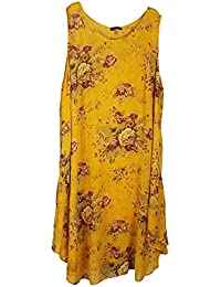 Wolfairy Womens Plus Size Dress Tunic Italian Lagenlook Summer Floral Linen Vintage Asymmetric