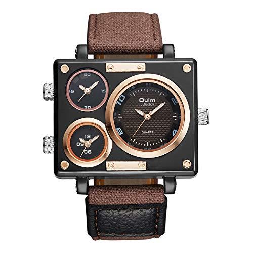 Herren Collection Schwarz Rechteck Uhren DREI Quarz Zeitzonen Military Canvas Stoff und Leder Band + Box