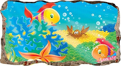 Startonight Papier Peint 3D Aquarium Avec Des Poissons Colorés, Décoration Murale Photo sur le mur Grand Format XXL Motif Moderne Déco d'Art Murale 120 x 220 CM