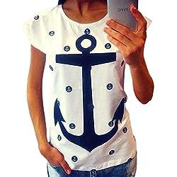 ZKOO Camisetas Mujeres Manga Corta Anclas Impresión Camiseta T Shirt Blusas Camisas Tops Ocasionales Blanco