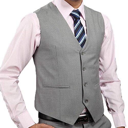 Highdas Herren Weste Solid Color Anzug Weste Grau