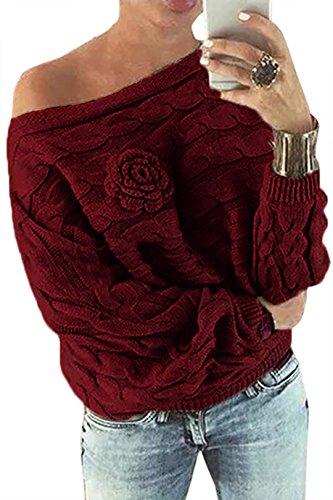 YOINS Schulterfrei Oberteile Damen Herbst Winter Off Shoulder Pullover Pulli für Damen Loose Fit mit Blumenmuster Wein M