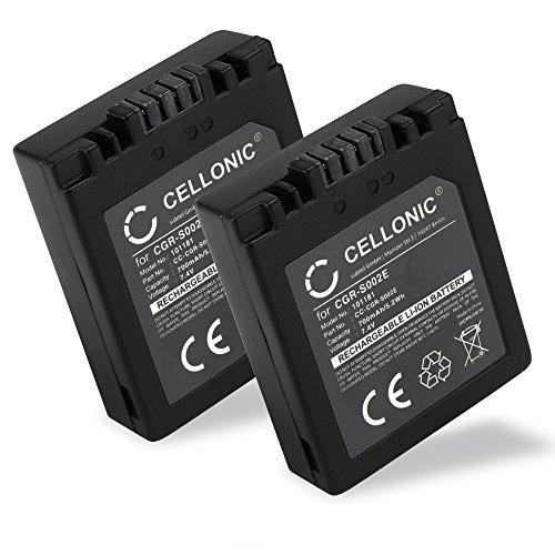 CELLONIC 2X Batterie Compatible avec Panasonic Lumix DMC-FZ10 DMC-FZ20 DMC-FZ5 -FZ1 -FZ15 -FZ2 -FZ3 DMC-FC20, Accu de Rechange CGA-S002e CGA-S002e-1B CGR-S002 DMW-BM7 700mAh Batterie Remplacement