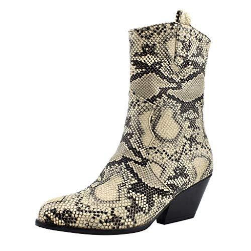 generisch Stiefel Damen Verbandstiefel Weibliche Stiefeletten Halbschaft Plateau Blockabsatz Knöchelhohe Sandalen Sneakers Schuhe Snake Pattern Boot High Tube Oblique Heel Booties