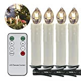 VINGO 40 Set Warmweiss LED Weihnachtskerzen kabellos Kerzen Lichterkette mit Fernbedienung Flammenlose Wasserdichte Dimmbar LED Baumkerzen