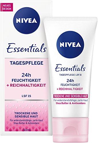 Nivea Essentials Tagespflege 24h Feuchtigkeit für trockene und sensible Haut, 4er Pack (4 x 50 ml Tube)