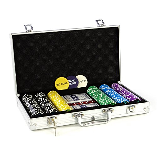 Nexos Pokerkoffer Pokerset 500 300 Laser Pokerchips Poker Komplett Set 12 g Chips Deluxe Größe wählbar (300 Chips)