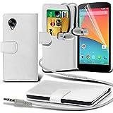 ( White ) LG Google Nexus 5 Ledergeldbörse Flip Hülle Tasche Mit-Schirm-Schutz-Schutz & Aluminium In Ear Ohrhörer Stereo-Kopfhörer-Kopfhörer Hands Free-Headset mit Mikrofon Mic & On-Off-Taste Einbau By Spyrox
