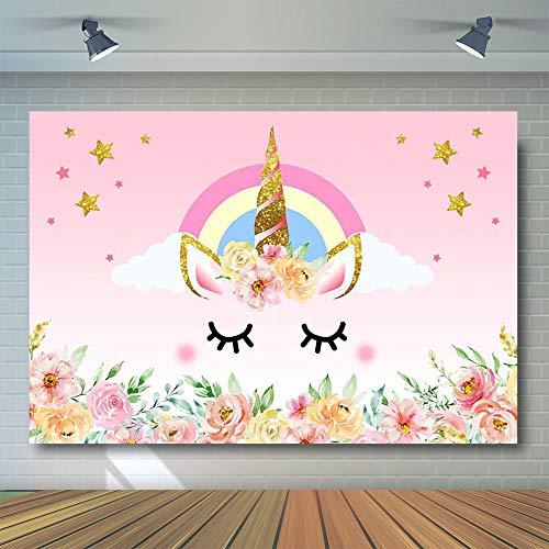 tto Geburtstag Party Banner Fotohintergrund Hintergrund Aquarell Blumen Rose Magisch Gold Glitzer Sterne Baby Dusche Dessert Tisch ()