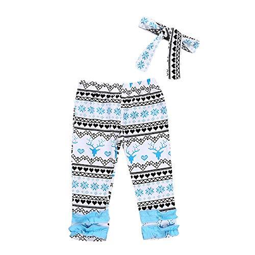 Yazidan 2 Stück Weihnachten Kleinkind Baby Neugeborenes Hirsch Drucken Lange Hosen+Stirnbänder Einstellen Outfit Mädchen Kleidung Sätze Säugling Kostüm Outfits Winter Warm Nachtwäsche(Hellblau,100)