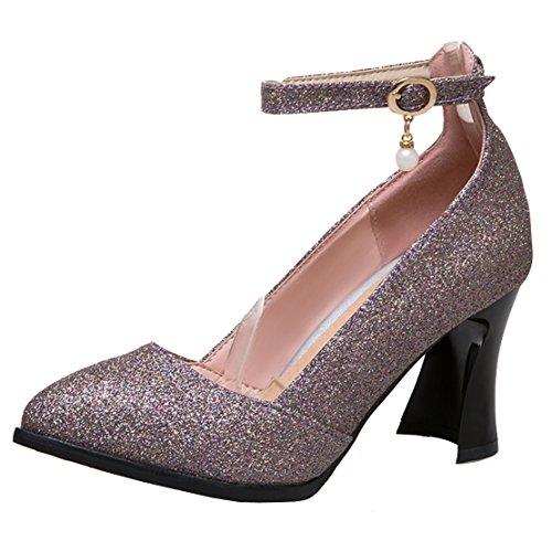 AIYOUMEI Damen Spitz Glitzer Blockabsatz Pumps mit Perlen High Heels Modern Schuhe Lila