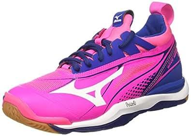 Mizuno Wave Mirage W, Chaussures de Gymnastique Femme, Rosa (Pink Glo/White/True bleu), 42 EU