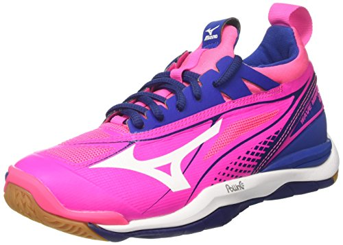 Mizuno Damen Wave Mirage W Gymnastikschuhe Rosa (Pink Glo/White/True Blue) 40,5 EU
