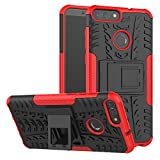 Funda Huawei P Smart, XINYUNEW 360 Grados Protective Caso Carcasa Case Cover Skin móviles telefonía Carcasas fundas Cubierta de lujo 2 in1 híbrido la cubierta Anti-Arañazos Anti-Choque de la PC pantalla de vidrio templado (1 Pack) para Huawei P Smart-Rojo