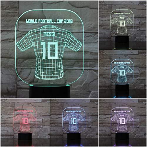 YS753 Messi Jersey USB 3D Led Nachtlicht Dekoration Kinder Kinder Fans Geschenk Baby Nachtlicht Fußball Fußball Jersey Tischlampe Schlafzimmer -