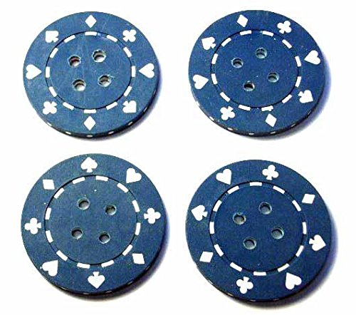 Pokerchips Knöpfe Pokerjetons Knopf Karneval 4cm blau (Clown Kostüme Diy)