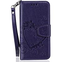 Apple iPhone SE/5S/5/6s/6/6S Plus/6 Plus/Apple iPhone 7 Custodia in pelle, esstore-eu Elegante Cuore e Farfalla con goffratura in pelle PU funzione protettiva Cover Custodia Tracolla Fordable, motivo a libro con porta carte viola Purple iPhone