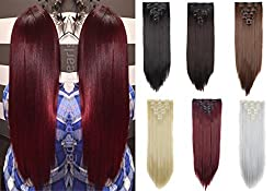 DODOING 7PCS 16Clips 23 Long Straight Double Weft Thick Full Head Clip in Hair Extensions Women Lady Hairpiece
