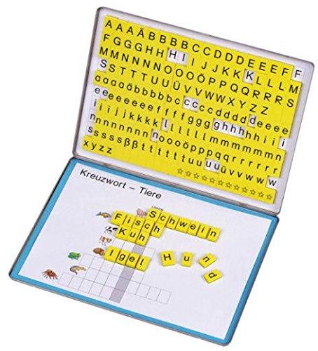 Betzold 86570 - Lese-Magnetbox mit 213 Buchstaben-Blöcken - Lesen Lernen Lesebox Deutsch-Unterricht Kinder Grundschule