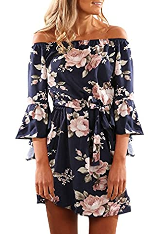 Women Summer Navy Blue 3/4 Flare Sleeve Floral Print Ruffle Off the Shoulder Casual Beach Loose Party Midi