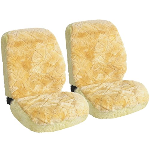 Abgedeckt Creme (WOLTU AS7334cm-2 universal Lammfellbezug Auto Sitzbezug 100% Echtlammfell Vollbezug Vordersitzbezug, feste Wolle, 2er Set, ca. 1.8 cm dicke, creme)