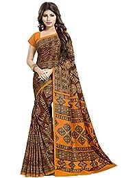 SAREE MALL Art Silk Saree With Blouse Piece (SRH047_Brown_Free Size)