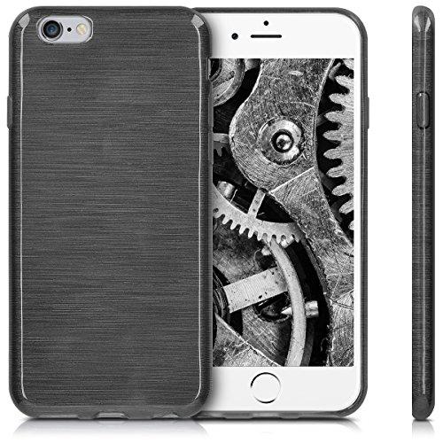 kwmobile ÉTUI EN TPU silicone pour Apple iPhone 6 / 6S Design aluminium brossé anthracite transparent. Étui design très stylé en TPU souple de qualité supérieure aluminium brossé anthracite transparent