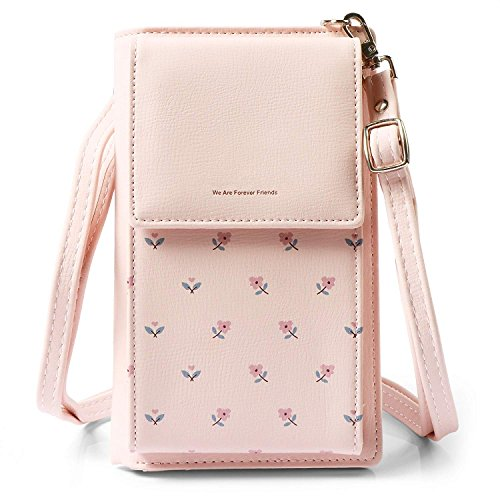 HMILYDYK Mädchen Umhängetasche Floral Leder Mini Tasche Handy Telefon Geldbörse Kartenhalter Geldbörse Mini Schultertasche - Geldbörse Leder Rosa Plus 6 Iphone