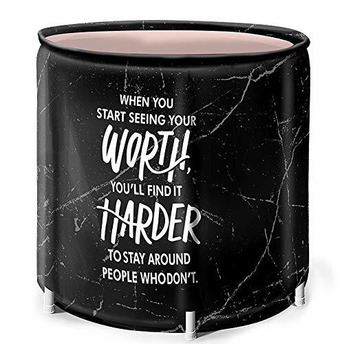 Fengbingl Tragbare Badewanne für Erwachsene Verdickte Erwachsene Bath Barrel Tragbare Badewanne Marmor Muster Faltbare Badewanne for Erwachsene Baby-Swimmingpool (Farbe : Schwarz, Größe : 65x70cm)