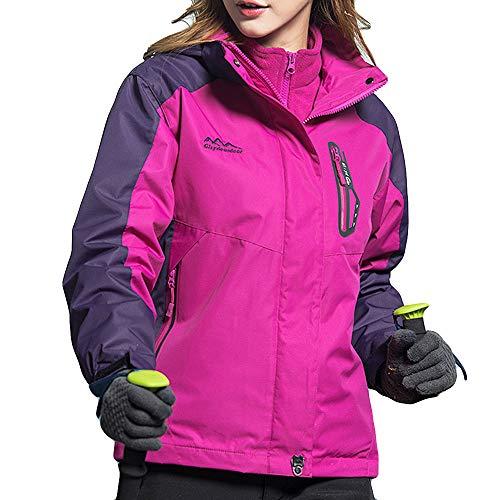 51u6SVXwIpL. SS500  - Lazzboy Womens Jacket Coat 3 in 1 Waterproof Detachable Inner Fleece Hooded Zipper Raincoat UK 10-22 Daily Hiking Trekking Mountaineering Oversized Plus Size