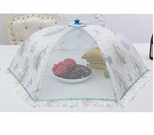 Wgwioo Alimentaire Des Ménages Couverture Fruit Snacks Table Parapluie Dentelle Ronde Maille Pop-Up Sérigraphie Rétro De Protecteur Extérieur Pliable Et Réutilisable 3