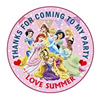 """design buddies Personalised Disney Princess 50mm 2"""" Party Stickers thank you labels,thank you for coming to my party labels"""