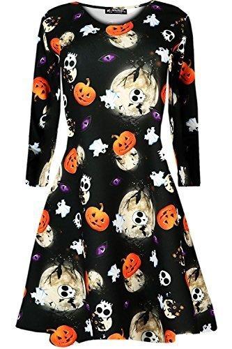 Oops Outlet Langärmliges Damen Halloween Kürbis Spinnennetz Schläger Totenköpfe Ausgestellt Kittel Skater Swing Kleid Top - Schädel & Ghost, Übergröße XL (44/46)