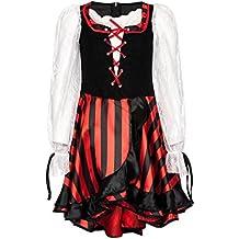 Kostümplanet® Piraten-Kostüm Deluxe für Mädchen Piratin-Kostüm Kinder Pirat Größe 104 116 128 140 152 164
