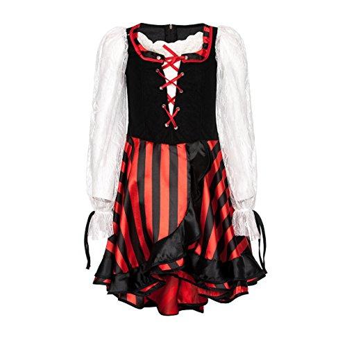 Kostümplanet® Piraten-Kostüm Deluxe für Mädchen Piratin-Kostüm Kinder Pirat Größe 128