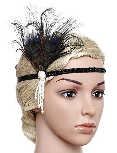 BABEYOND 1920s Stirnband Feder Flapper Stirnband mit Perlen Troddel 20er Jahre Haarband Große Gatsby Kostüm Accessoires Damen Retro Stirnband - 3
