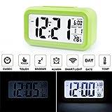 AUDEW LCD Wecker Digital Wecker Tischuhr Alarm Clock Kalender Thermometer für Auto Reise Hause Büro Grün