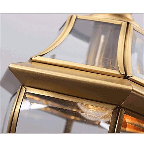 G-D Deckenleuchte im Europäischen Stil Kupfer Kronleuchter Glas Licht Schatten Anhänger Hängende Lampe Warme und Modische Gang Balkon Wohnzimmer Esszimmer Deckenbeleuchtung -