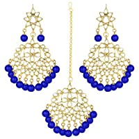 I Jewels Traditional Gold Plated Pearl & Kundan Maang Tikka With Earring Set (TE7058BL)