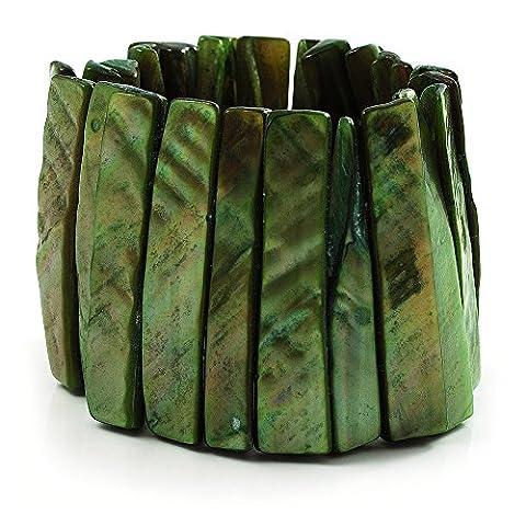 Large Bracelet Extensible Coquillage Vert (Raies)