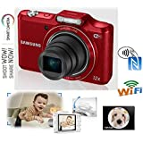 """SAMSUNG SMART WB50F (WINE RED) CHILD / PET PHOTO FRIENDLY DIGITAL CAMERA WITH 12 x OPTICAL ZOOM - 16.2 MP - 3"""" INTELIGENT LCD - WIFI / NFC & SOFT FLASH - MULTI VOLTAGE MAINS CHARGER FOR INTERNATIONAL USE WITH MULTI PLUG (SAME FAMILY AS WB250 / WB350 etc.)"""