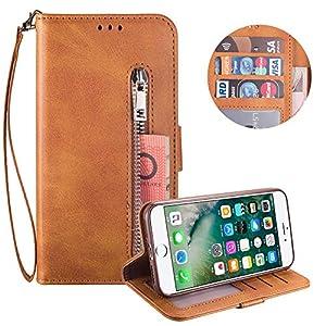 Reißverschluss Brieftasche für iPhone 8,Gurt Wallet Handyhülle für iPhone 7,Moiky Klassisch Braun Solide Farbe Klappbar…