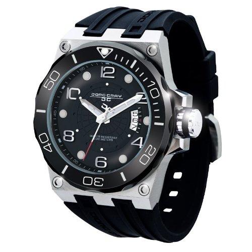 Jorg Gray JG9600-12 - Reloj analógico de cuarzo para hombre con correa de acero inoxidable, color plateado