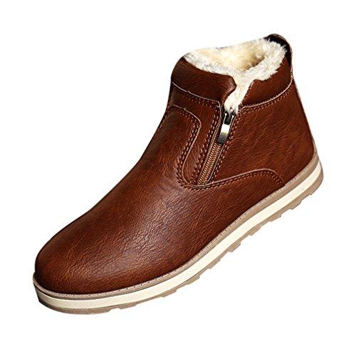 SGoodshoes Uomo Stivali Tooling Stivali in PU Pelle Invernali scarpe sneakers Marrone 40EU