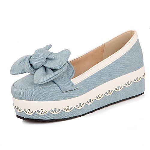 AgooLar Damen Rund Zehe Mittler Absatz Gemischte Farbe Ziehen Auf Pumps Schuhe Hellblau