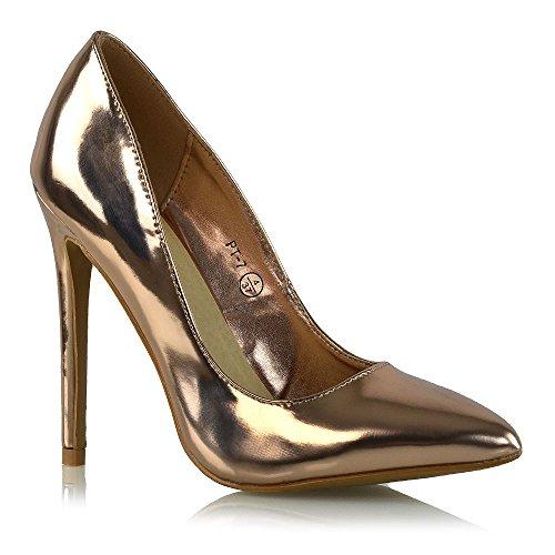 ESSEX GLAM Donna Tacco Stiletto Scivolare Su Pompe Le Signore Formale Lavoro Scarpe Oro Rosa Metallizzato