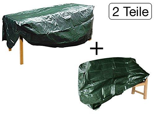 MISO Tools Set 2tlg. Schutzhülle für rechteckigen Gartentisch 2350mm, Gartenbank 1600mm reißfest UV-Beständig