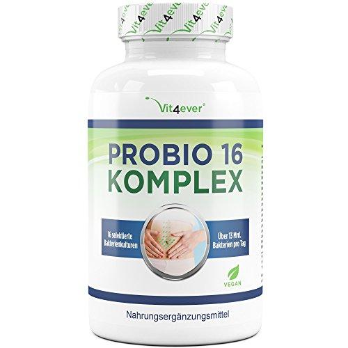 Probio 16 Komplex - 16 Bakterienkulturen - 13 Milliarden Bakterien pro Tag - 120 Kapseln - widerstandsfähige Milchsäurebakterien - hochdosierte selektierte Bakterienstämme - Enthält Lactobacillus, Bifidobacterium und Acidophilus - Magensaftresistente Kapseln - Vegan - Laborgeprüft - Vit4ever