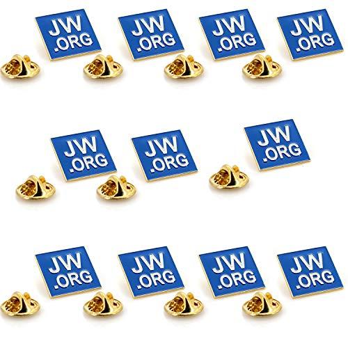 jw. ORG Quadratischer Gold Anstecknadel Jehovas Witness-2,5cm eckig blau Revers PIN-jw. ORG Hals Krawatte Hat Tack Clip Damen oder Herren Passt-10Pack